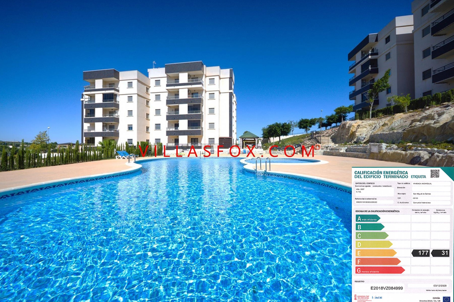 2-bedroom apartment with glazed terrace, pool, views, San Miguel de Salinas